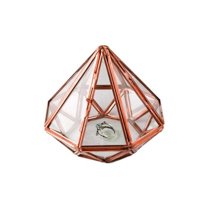 Rose Gold Metal Diamond shaped Glass Accessories Organizer