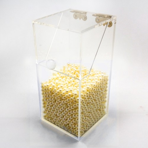 Clear Makeup Brush Diamond Holder with Gold Pearls