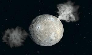 Representación exagerada de los penachos de vapor de agua que podrían tener lugar en la superficie de Ceres