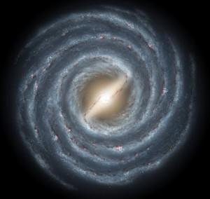 Concepto artístico de la Vía Láctea. Crédito: NASA/JPL