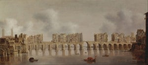 El viejo puente de Londres. Cuadro de Claude de Jongh (1606-1663)