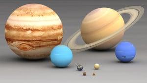 """Los planetas del Sistema Solar a escala. Crédito: Usuario """"Lsmpascal"""" de Wikipedia."""