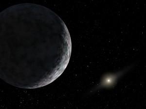 Recreación artística de Eris, y de cómo se vería el Sol desde sus inmediaciones. Crédito: NASA