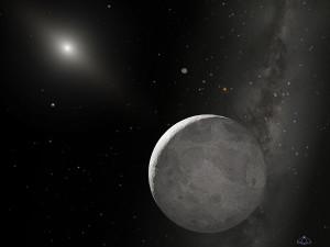 Esta es una recreación artística de Eris y Disnomia (no sabemos cómo son los detalles de la superficie). Crédito: NASA, ESA, y A. Schaller (for STScI)