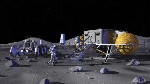 Concepto artístico de la NASA mostrando un asentamiento lunar. Crédito: NASA