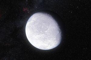 Recreación artística de Eris. Su superficie es muy brillante (refleja un 96% de la luz que recibe). Crédito: ESO/L. Calçada y Nick Risinger (skysurvey.org)