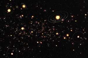 Esta recreación artística (con tamaños muy exagerados) es una representación de con qué frecuencia hay planetas alrededor de estrellas en la Vía Láctea. Crédito: ESO/M. Kornmesser