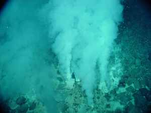 Una de las teorías es que la vida pudo aparecer en fuentes hidrotermales en las profundidades del mar (como la de esta imagen). Crédito: NOAA