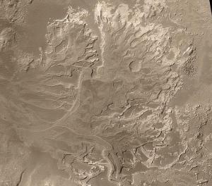 Un delta en el cráter Eberswalde. Crédito: Jim Secosky