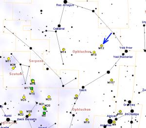 Mapa explicativo para poder localizar y observar Messier 12. Crédito: Roberto Mura