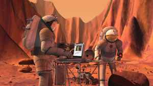 Concepto artístico de astronautas en Marte. Crédito: NASA/JSC