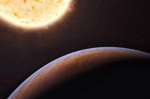 Éste es un concepto artístico del planeta HIP 13044 b, que se cree es extragaláctico (es decir, está fuera de la Vía Láctea). Crédito: ESO/L. Calçada