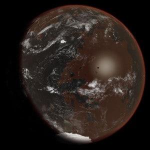 "Es posible que un planeta con vida basada en amoniaco tuviese un aspecto similar a este concepto artístico. Crédito: Usuario ""Ittiz"" de Wikipedia"