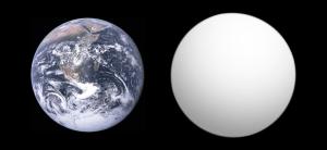 Comparación entre el tamaño de la Tierra y el exoplaneta Kepler-186f. Crédito: Aldaron