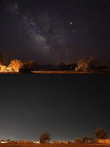Comparación entre el cielo en una zona rural y el cielo en una zona urbana. Crédito: Jeremy Stanley
