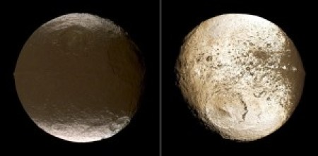 En esta imagen se puede apreciar fácilmente la diferencia entre los dos hemisferios. También puedes ver la cordillera que recorre el ecuador del hemisferio oscuro. Crédito: NASA / JPL / Space Science Institute.