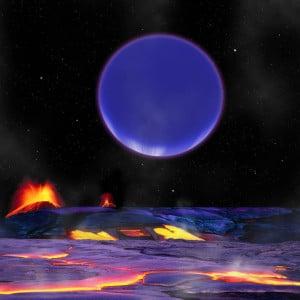 Esta recreación artística muestra cómo puede ser el aspecto de Kepler-36c visto desde la superficie de Kepler-36b. Crédito: Harvard-Smithsonian Center for Astrophysics/David Aguilar.
