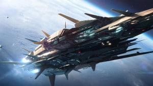 """Ilustración de una nave espacial. Crédito: """"Dreamscape IV,"""" by jamajurabaev, via Deviantart"""