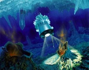 Representación artística de un cryobot en Europa. Crédito: NASA