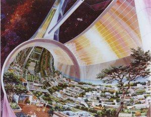 Concepto artístico de una colonia espacial toroidal, con capacidad para 10.000 personas. Crédito: NASA Ames Research Center
