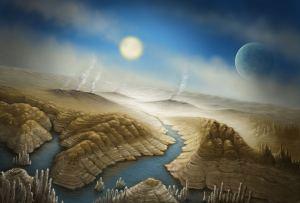 Este es un concepto artístico de la superficie del exoplaneta Kepler-452b. En él se imagina que el planeta está comenzando a sufrir un efecto invernadero. Crédito: SETI Institute/Danielle Futselaar