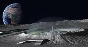 Concepto artístico de una ciudad construida dentro de un crater lunar. Crédito: Getty