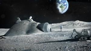 Otro concepto artístico de un astronauta en una base lunar, con la Tierra de fondo. Crédito: Science Photo Library