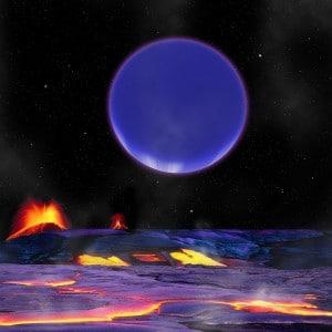 Este concepto artístico muestra cómo podría verse Kepler-36c desde la superficie de Kepler-36b. Crédito: Harvard-Smithsonian Center for Astrophysics/David Aguilar.