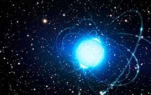 Concepto artístico de un magnetar en el cúmulo estelar Westerlund 1, en el que también se encuentra la estrella Westerlund 1-26. Crédito: ESO/L. Calçada