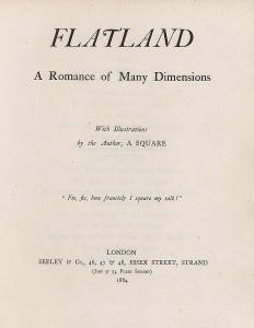 """Página de título de Planilandia. Edwin Abbot la publicó bajo el pseudónimo """"Un cuadrado"""". Crédiot: Edwin Abbot"""