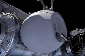 Impresión artística del módulo BEAM acoplado a la Estación Espacial Internacional. Crédito: NASA