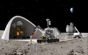 Concepto artístico de una base lunar construida in-situ con la ayuda de una impresora 3D. Crédito: NASA