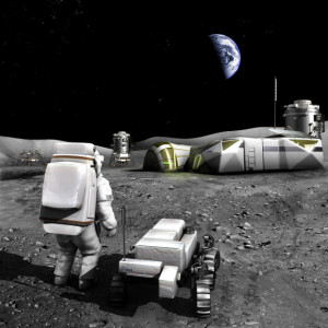 Concepto artístico de una base lunar. Crédito: NASA