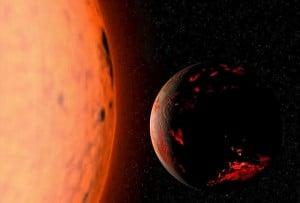La Tierra brillante y carbonizada del futuro lejano, con el Sol ya bien entrado en su fase de gigante roja. Crédito: Wikimedia Commons CC BY-SA 3.0.