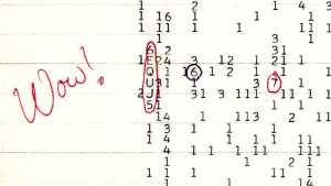 La señal Wow!, registrada el 15 de agosto de 1977. Crédito: Big Ear Radio Observatory and North American AstroPhysical Observatory (NAAPO)