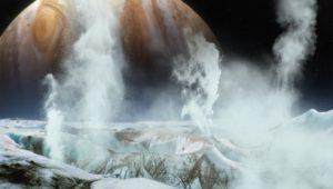 Recreación artística de penachos de agua en Europa. Crédito: NASA