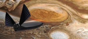 Concepto artístico del STI llegando a Júpiter. Crédito: Elon Musk/SpaceX