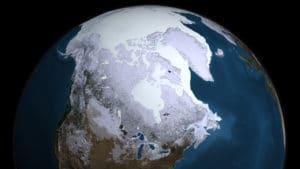 Durante una glaciación, las capas de hielo se expanden. Crédito: NASA