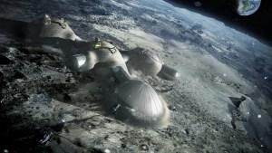 Concepto artístico de una base lunar