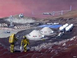 Concepto artístico de una base en Marte. Crédito: NASA