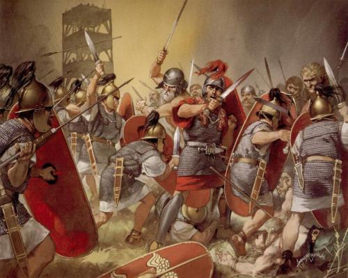Los antiguos romanos yendo a otra guerra