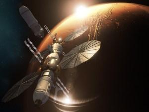Concepto artístico de la Mars Base Camp de Lockheed Martin en la órbita de Marte.