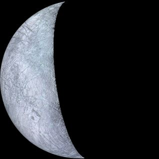 Europa fotografiado por la sonda Voyager 2. Crédito: NASA