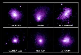 6 clusters die door Chandra bestudeert zijn om de Hubble constante mee te bepalen