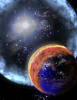 Impressie van een nabije supernova