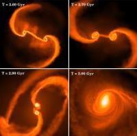 Beelden van de simulatie van de botsing van de superzware zwarte gaten