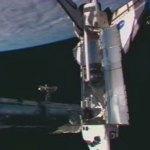 Atlantis/Columbus gekoppeld aan ISS