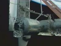 De Columbus is gekoppeld aan het ISS