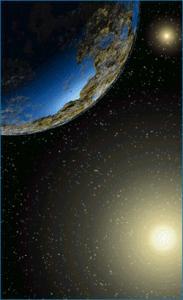 Schets van een planeet in het Alpha Centauri-systeem