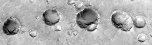 Een serie kraters op Mars